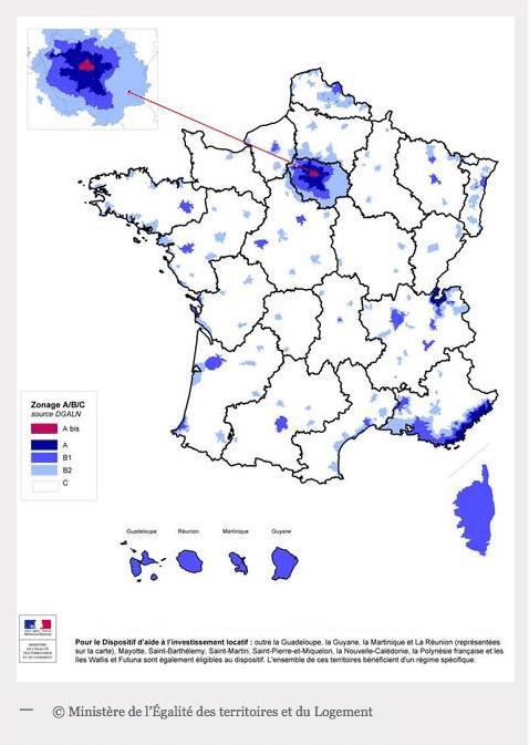 carte de France pour chaque zone en Pinel