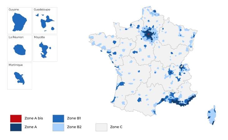 Carte représentative de la loi Pinel en France avec l'illustration des zones pinel : la zone A, zone A bis, zone B1, zone B2 et la zone C